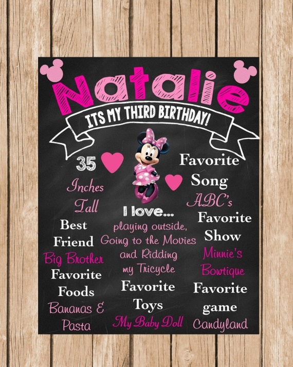 Minnie Mouse Birthday Chalkboard in Pink