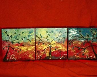 Original: 3 trees; small 3 square canvas