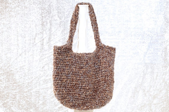 Blue Brown Handmade Crochet Hobo Shoulder Bag Purse Boho Handbag Tweed ...
