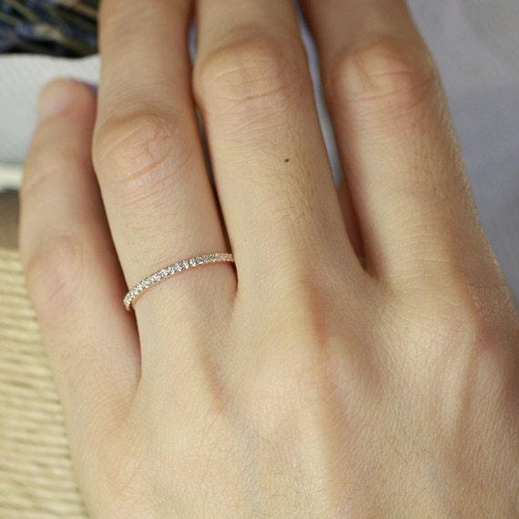 Petite Diamond Wedding Ring In 14k Rose Gold Half By