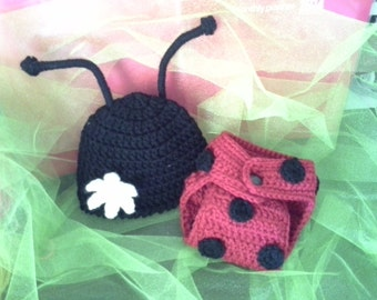 Crochet Newborn Lady Bug Hat and Diaper Cover Set, Made to Order, Photo Prop