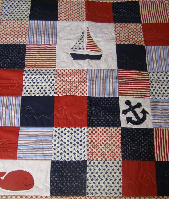 Baby Boy Nautical Quilt Blue Red Amp White Crib By