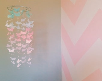 Mint and Pink Butterfly Mobile