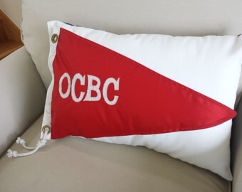 OCBC - Nautical pillow made from vintage yacht club flag / burgee.  Free shipping!