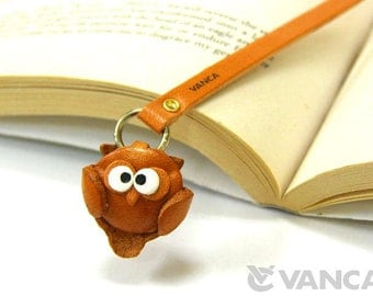 Owl Leather 3D Animal Bookmark/Bookmarks/Bookmarker *VANCA* Made in Japan #26108 Free Shipping