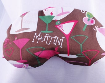 Personalized Lavender & Flax Seed Aromatherapy Eye Pillow - Heat or Cold activated- Martini Themed