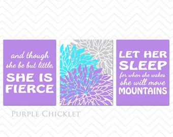 Purple Aqua Nursery Wall Art Prints Let Her Sleep For When She Wakes And Though She Be But Little She is Fierce Dahlia Decor 198(177(a)*
