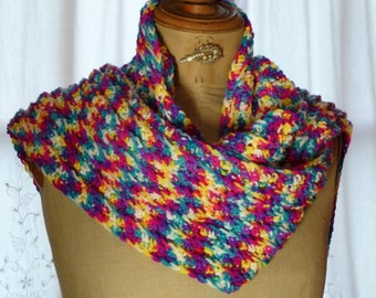 Multicolored crochet scarf
