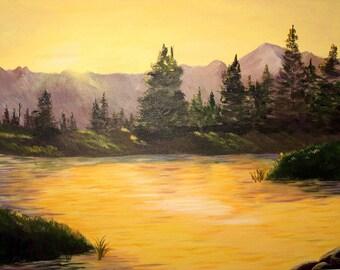Sunrise at Bakers Hole 12X16 Painting Acrylic Landscape