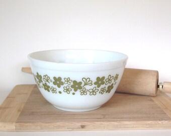 Vintage Pyrex Bowl Green Spring Blossom Crazy Daisy Green on White 402 Mixing Bowl Circa 1970s