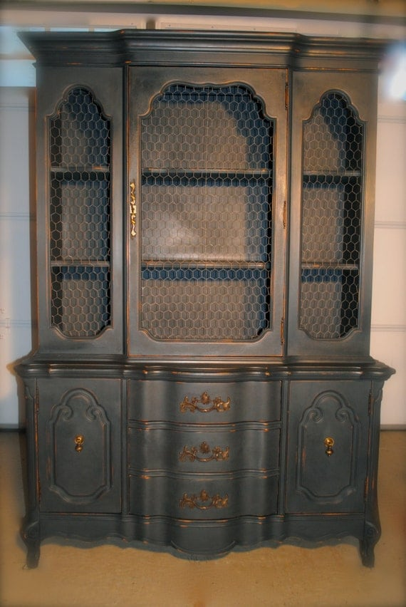 Items similar to Antique Distressed China Cabinet with Chicken ...