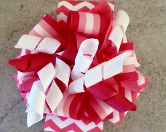 PINK CHEVRON CORKER Hair Bow - 4 inch stacked ribbon style with coordinating corker ribbons