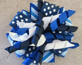 BLUE CHEVRON CORKER Hair Bow - 4 inch stacked ribbon style with coordinating corker ribbons