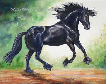 """Note card Friesian horse watercolor painting """" Flying Friesian"""" by Kristine Plum"""