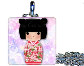 Kokeshi Doll Necklace, Glass Necklace, Glass Pendant, Oriental Necklace, Japanese Pendant, Washi Paper Necklace, Kokeshi Charm Ready to Ship