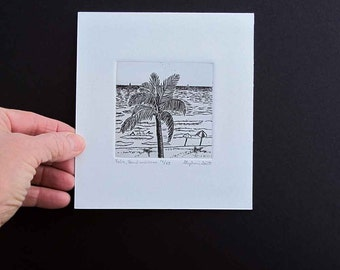 Palm, Beach, Ocean  - Original Etching & Engraving, Hand-printed, Limited Edition