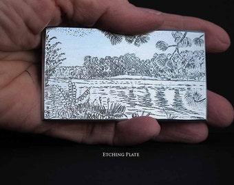 "Lake View   Original Intaglio Etching & Engraving, ""Lake View"" Hand-printed original print, small, miniature print, lake house decor etching"