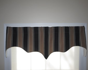 Curtains Ideas brown valance curtains : Brown window valance valance Moroccan print scalloped window