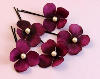 Purple / Magenta bobby pins Wedding hair accessories Bridal pins hair clip bobby pin Flower Girl hair accessories Holiday shoe clips