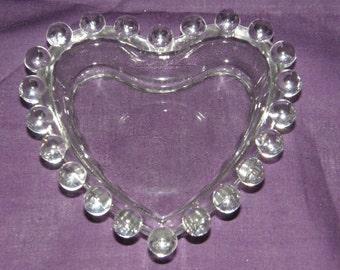 "Imperial Candlewick 6-1/2"" Heart Shaped Bon Bon Dish"