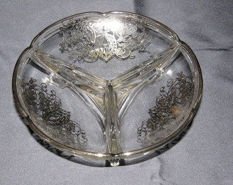 Vintage Silver Overlay Clear Glass Divided Dish