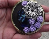 Double Sided Mirror, Compact Mirror, Make Up Mirror, Wedding Gift, Bridesmaid Gift, Personal Mirror, Round Purple Roses Mirror