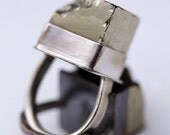 Sterling Silver and Pyrite Cube Ring