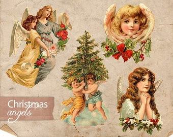 Digital Collage Sheet Christmas Color Angels - Antique Vintage Christmas Wings - Christmas Holiday Print PNG - Illustration INSTANT DOWNLOAD
