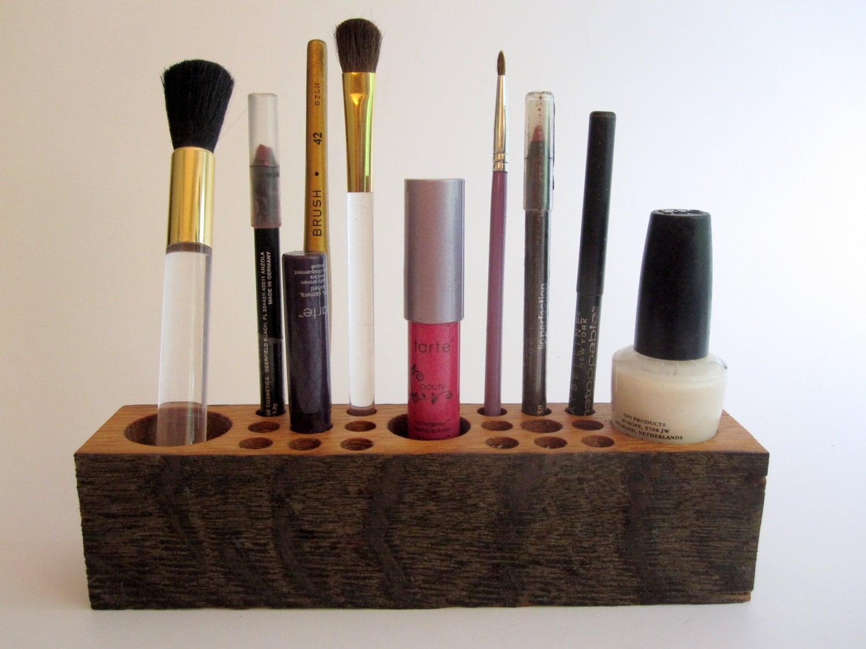 Reclaimed Oak Wooden Makeup Organizer & Cosmetic by psItsDebbie