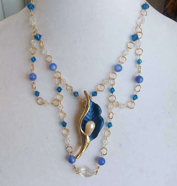 Swarovski Blue Necklace with Blue Agate