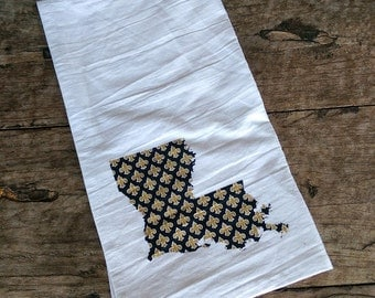 Louisiana Black and Gold Fleur de lis towel