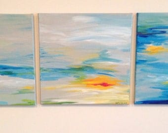 Abstract Acrylic Paintings Squares of Sky Original Paintings on Canvas, Series of 3 canvases (each sold seperately)