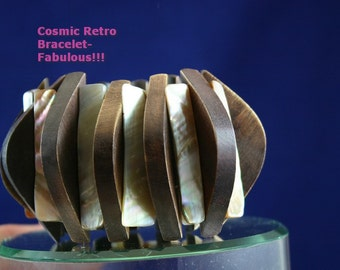Cool COSMIC Mid-Century Modern Retro Cuff Bracelet in Wood and Mother of Pearl
