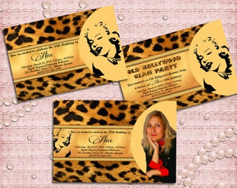 Marilyn Monroe Leopard Old Hollywood Adult Birthday / Brydal Shower / Glam Party Invitation - 40th 50th 60th 70th 80th 90th - Printable DIY