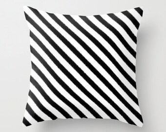 Black and White Striped Pillow - Decorative Pillow - Velveteen Pillow Cover - Dorm Pillow - Teen Pillow - Girls Pillow - Gifts for Her