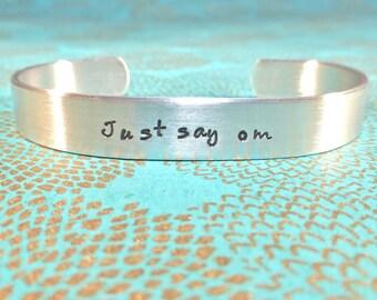 Yoga Gift   Meditation bracelet - Just say om - Custom Hand Stamped Bracelet by MadeByMishka.com