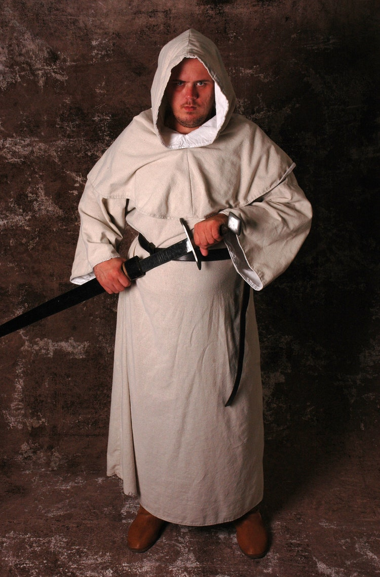 Men S Medieval Monk S Robe Amp Hood Off White By Hobbidashery