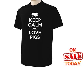 Keep Calm and LOVE PIGS T-Shirt - your choice of 8 different colors for shirt and 12 different colors of logo