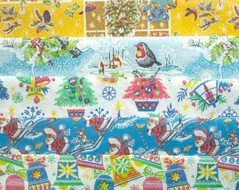 Original Vintage Christmas Wrapping Paper (5 Sheets)