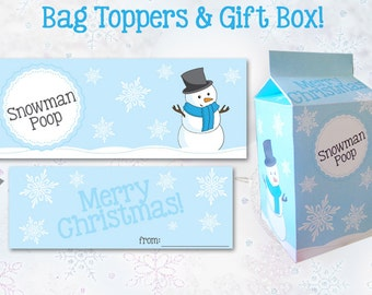SNOWMAN POOP Bag Topper / Gift Box Template - Instant Download, Print, Party - Christmas Decorations, Paper Printable Candy Bag & Box