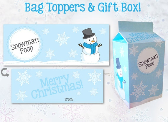 SNOWMAN POOP Bag Topper / Gift Box Template - Instant Download, Print ...