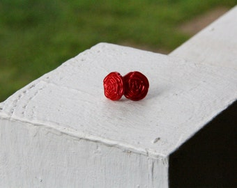 Red Rose Button Earrings