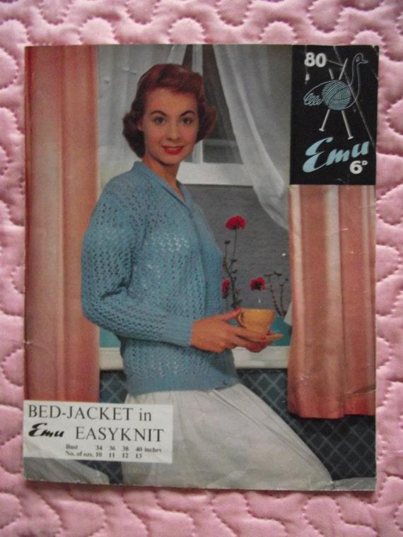 Vintage Bed Jacket Knitting Pattern : 1950s Vintage Knitting Pattern Bed Jacket Emu Easyknit