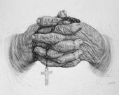 Rosary, Hands, Religious Art, Prayer, Pencil Drawing, Unisex, Wrinkles, Illustration, 8 x 10 Reproduction Print of Original Drawing