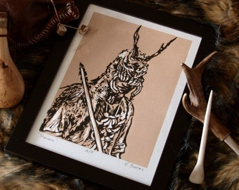 Stone Age Original Art Lino Print - 'Shaman'