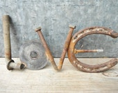 "Metal Love sign, Metal word art,Rusty sign,Charming ""Love"" sign made of old rusty farm items, fencing parts, horseshoe, washer, Old bolts"