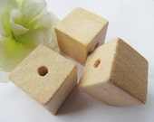 20mm Large Unfinished Faceted Natural Wood Spacer Beads Charm Finding,Square Cubic Wooden Beads,DIY Accessory