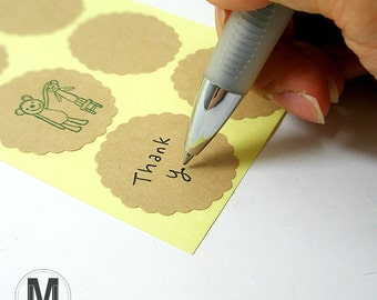 40 Kraft Brown Scalloped Circle Stickers Labels 1.37inch (35mm)_DIY stamping sticker labels_Blank Sticker Labels