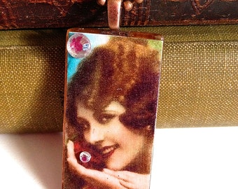 "Rectangle Glass Tile ""Vintage Woman with Flower"" Necklace"