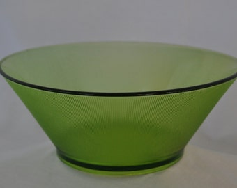 Vintage Green Fine Ribbed Modern Glass Bowl.